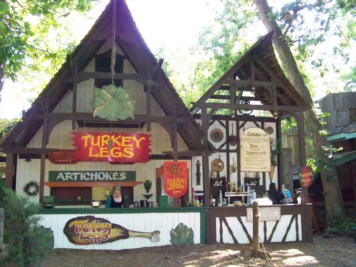 turkey leg and artichoke food booth