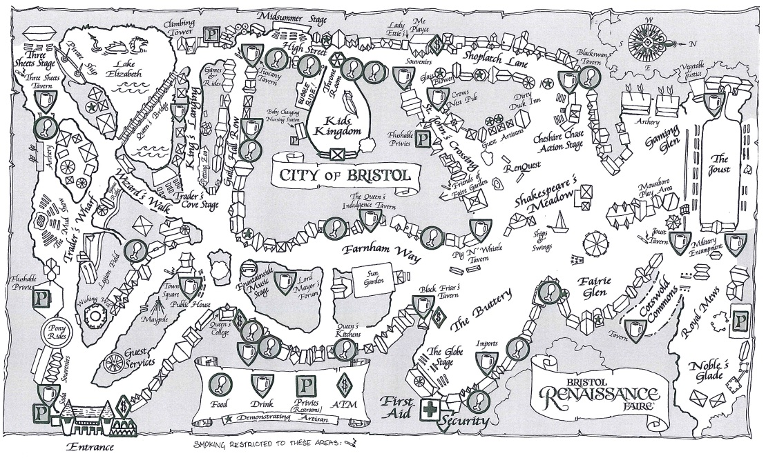 Map of the Bristol Renaissance Faire