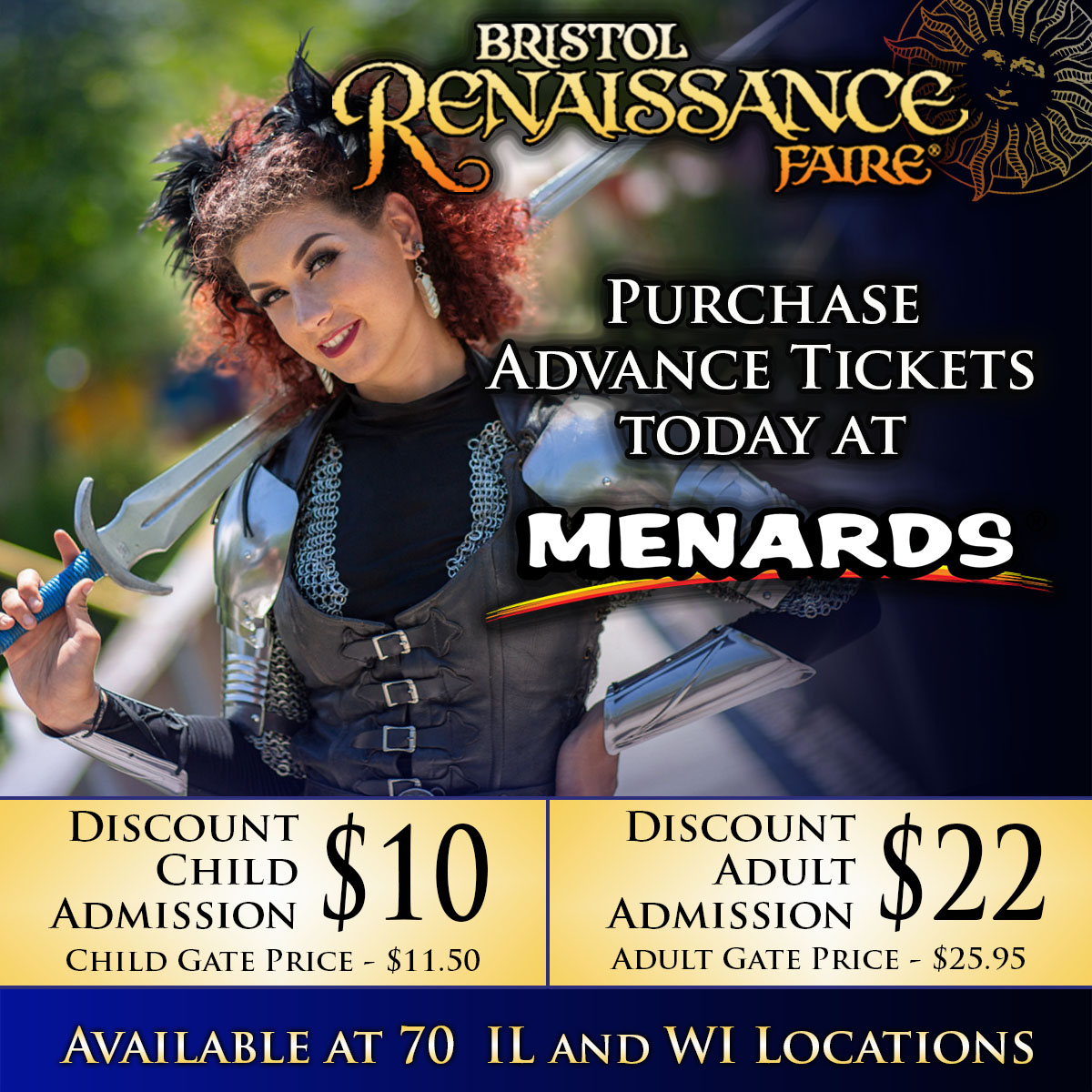 Discount tickets available at participating Menards locations