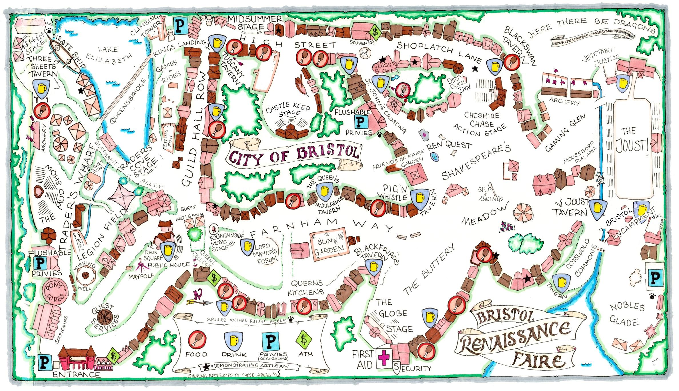 Map of the 2021 Bristol Renaissance Faire