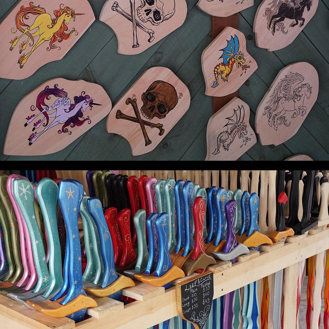 Artisan Marketplace Shopping: Black Swan wood sword shield toy game