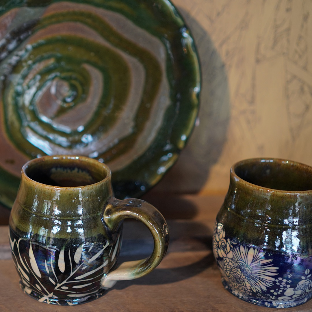 Artisan Marketplace Vendor: Elan Pottery cups mugs plate bowl