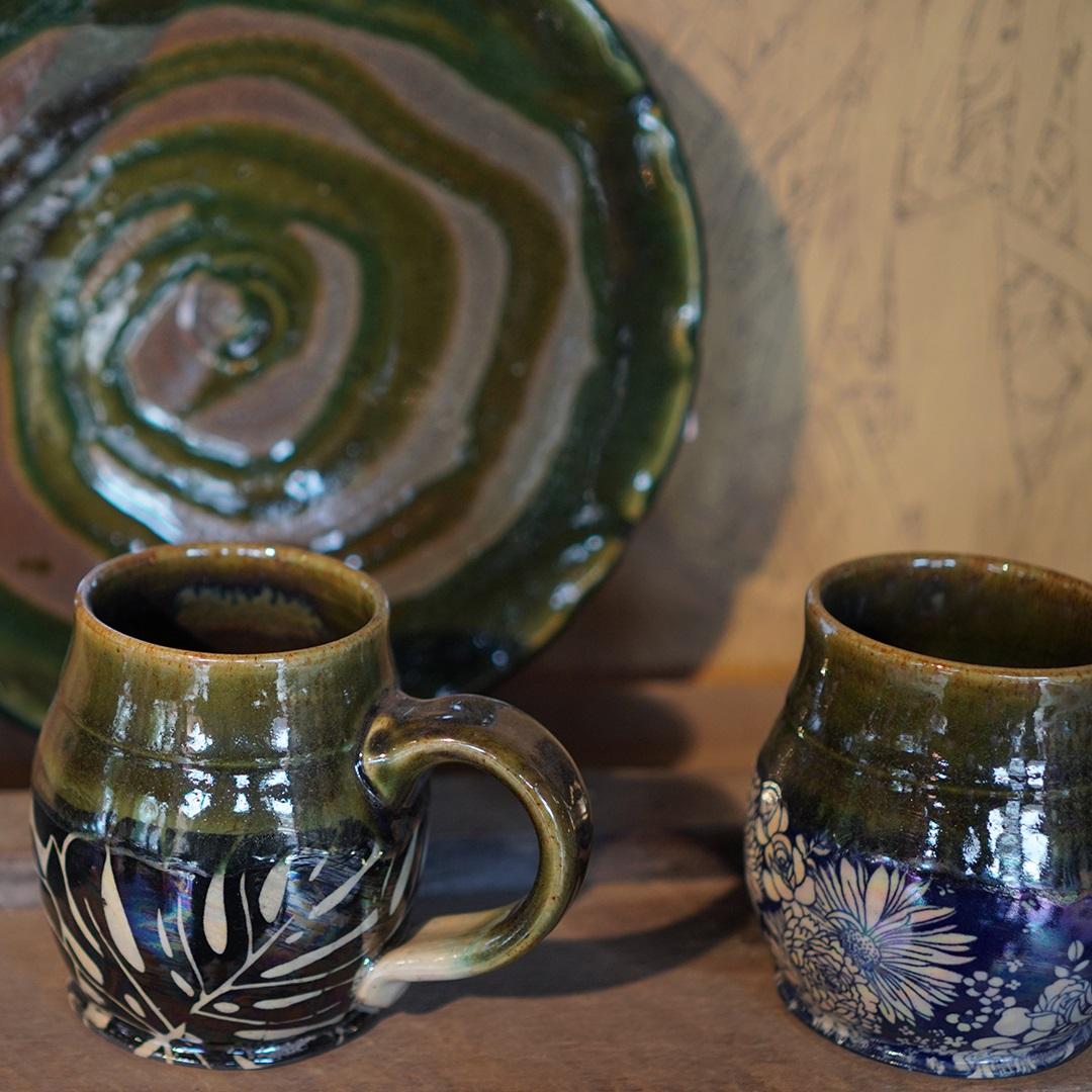 Artisan Marketplace Vendor: Elan Pottery cups mugs plate bowl
