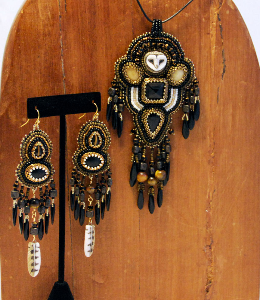 Earrings and Necklace by Autumn Sky Adornments