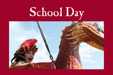 logo: school day photo: costumed boy laughing on dragon swing