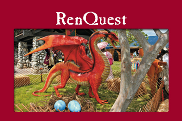 logo: RenQuest photo: red dragon statue with eggs