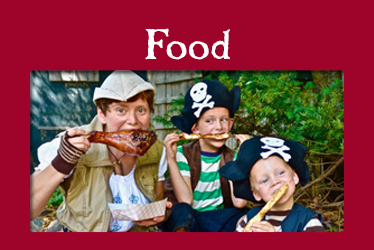 logo: food photo: family dressed as pirates eating turkey legs