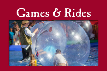 logo: gamers & rides photo: child inside Bubble Roller