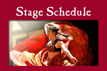 logo: Stage Schedule photo: twirling dancer Jamilia Lotus