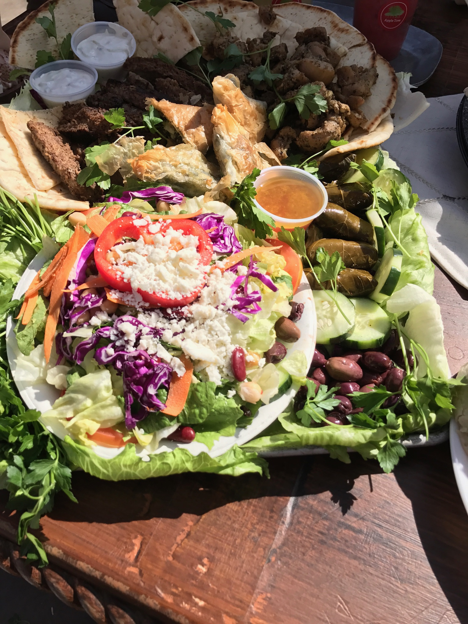 Food: gyro and salad